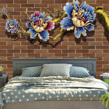 Flower Print Vintage Brick Wall Tapestry - BROWN BROWN