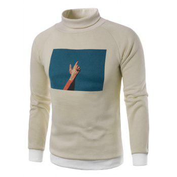 3D Photo Print Fleece Pullover Sweatshirt - KHAKI KHAKI
