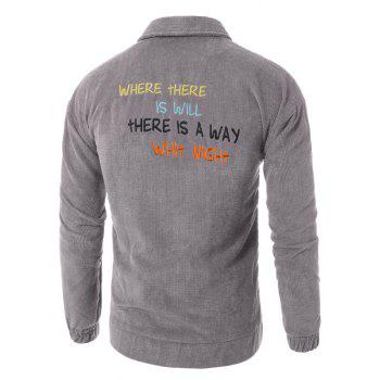 Graphic Embroidered Button Up Corduroy Jacket - GRAY GRAY