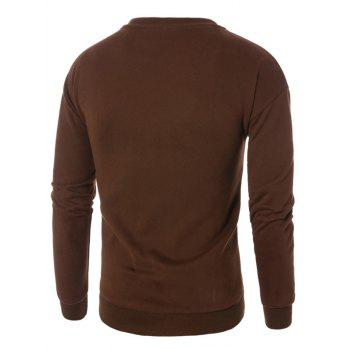 Coffee Graphic Embroidered Fleece Sweatshirt - BROWN BROWN