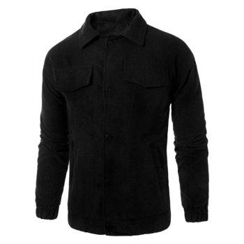 Graphic Embroidered Button Up Corduroy Jacket - BLACK BLACK