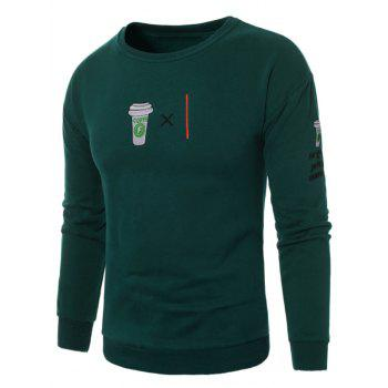 Coffee Graphic Embroidered Fleece Sweatshirt - GREEN GREEN