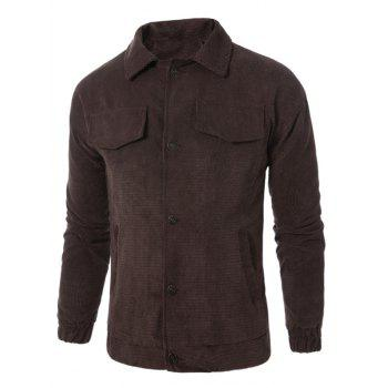 Graphic Embroidered Button Up Corduroy Jacket - BROWN BROWN