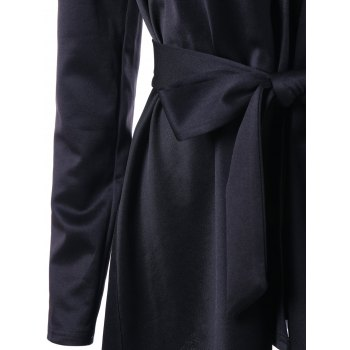 Hooded Faux Fur Collar Asymmetric Coat - BLACK 2XL