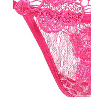 Lace Appliques T Back - ROSE RED ONE SIZE