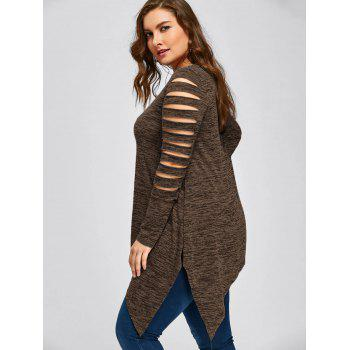 Plus Size Marled Ripped Sleeve Handkerchief Top - COFFEE 3XL