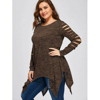 Plus Size Marled Ripped Sleeve Handkerchief Top - COFFEE 4XL
