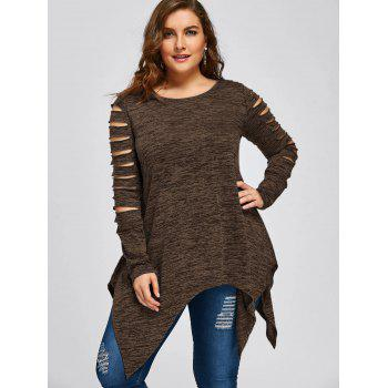 Plus Size Marled Ripped Sleeve Handkerchief Top - COFFEE 5XL