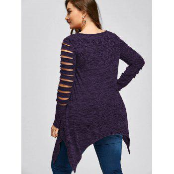 Plus Size Marled Ripped Sleeve Handkerchief Top - PURPLE 5XL