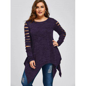 Plus Size Marled Ripped Sleeve Handkerchief Top - PURPLE 3XL