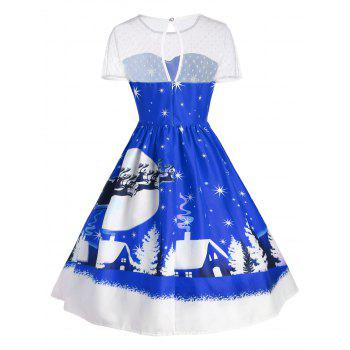 Santa Claus Deer Christmas Vintage Dress - BLUE XL