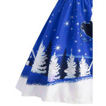 Santa Claus Deer Christmas Vintage Dress - BLUE S