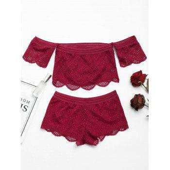 Lace Off Shoulder Sheer Bralette Set - WINE RED M