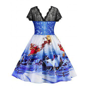 Christmas Printed Lace Panel Vintage Dress - BLUE L