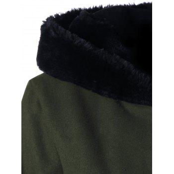 Lace Up Longline Hooded Coat - OLIVE GREEN XL