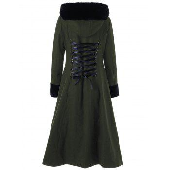 Lace Up Longline Hooded Coat - OLIVE GREEN L