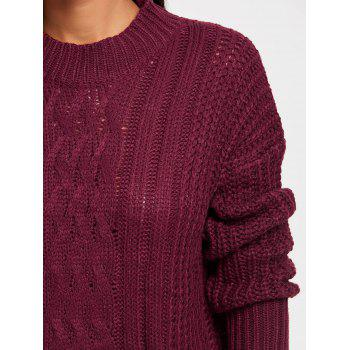 Mock Neck Cable Knitted Sweater - CLARET ONE SIZE