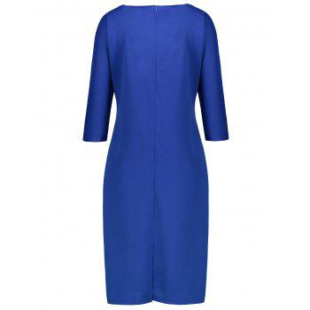 Plus Size Fitted Dress with Pockets - BLUE 6XL