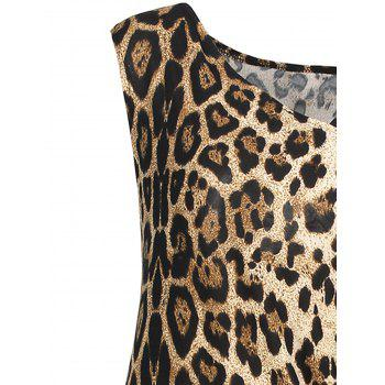 V  Neck Draped Leopard Sheath Dress - LEOPARD PRINT PATTERN 5XL