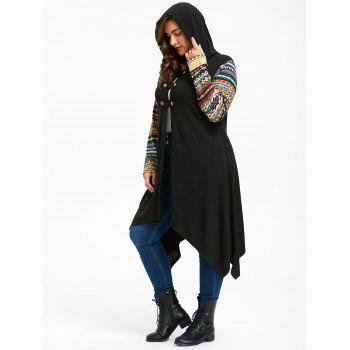 Long Sleeve Plus Size Hooded Handkerchief Dress - BLACK 2XL