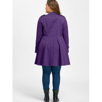 Plus Size Double Breasted Flare Coat - PURPLE 4XL