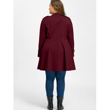 Plus Size Double Breasted Flare Coat - WINE RED 5XL