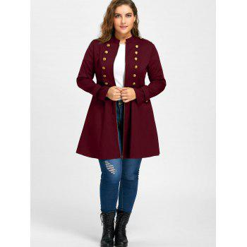 Plus Size Double Breasted Flare Coat - WINE RED XL