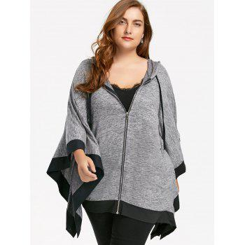 Zip Up Hooded Plus Size Dolman Sleeve Coat - BLACK XL