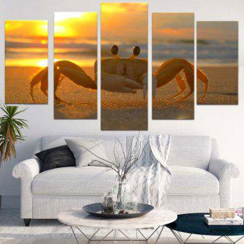 Sunset Beach Crab Unframed Canvas Split Paintings - COLORFUL 1PC:12*31,2PCS:12*16,2PCS:12*24 INCH( NO FRAME )