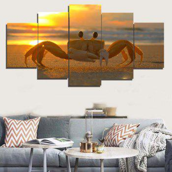 Sunset Beach Crab Unframed Canvas Split Paintings - COLORFUL COLORFUL