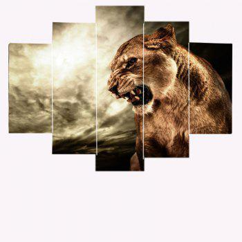Roaring Lion Printed Canvas Painting - DEEP BROWN 1PC:8*20,2PCS:8*12,2PCS:8*16 INCH( NO FRAME )