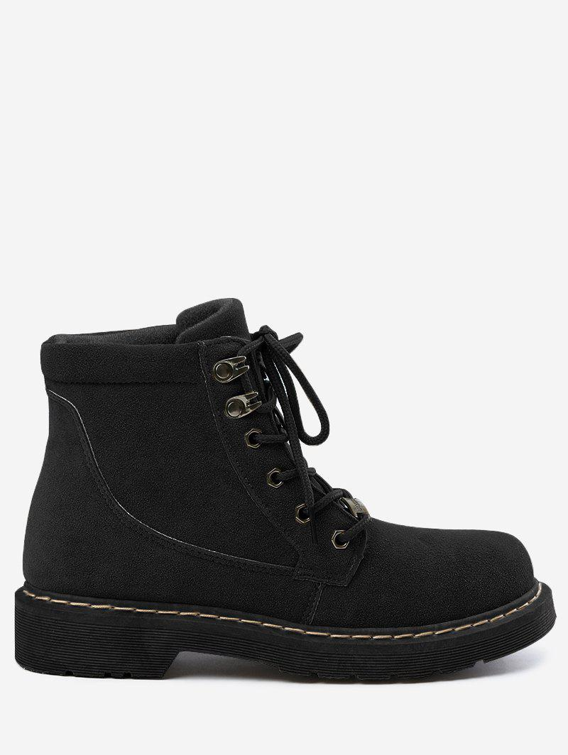 Lace Up Stitching Ankle Boots - BLACK 35