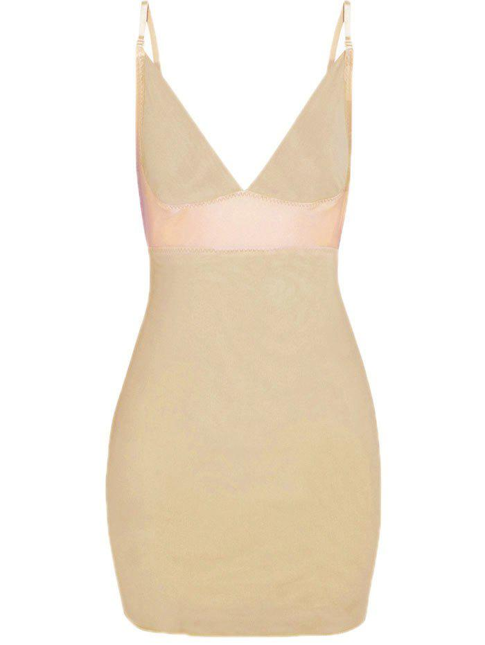 Plunge Convertible Strap Slip Corset Dress - COMPLEXION 2XL