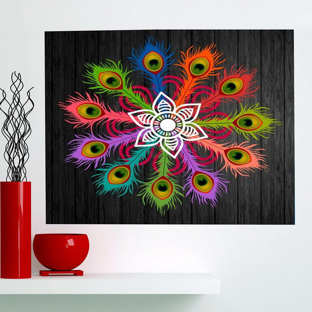 Multifunction Peacock Feathers Flowers Printed Wall Art Painting - COLORFUL 1PC:24*24 INCH( NO FRAME )