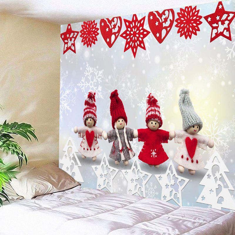Christmas Snowman Paper Cutting Print Wall Art Tapestry christmas tree snowman printed wall tapestry