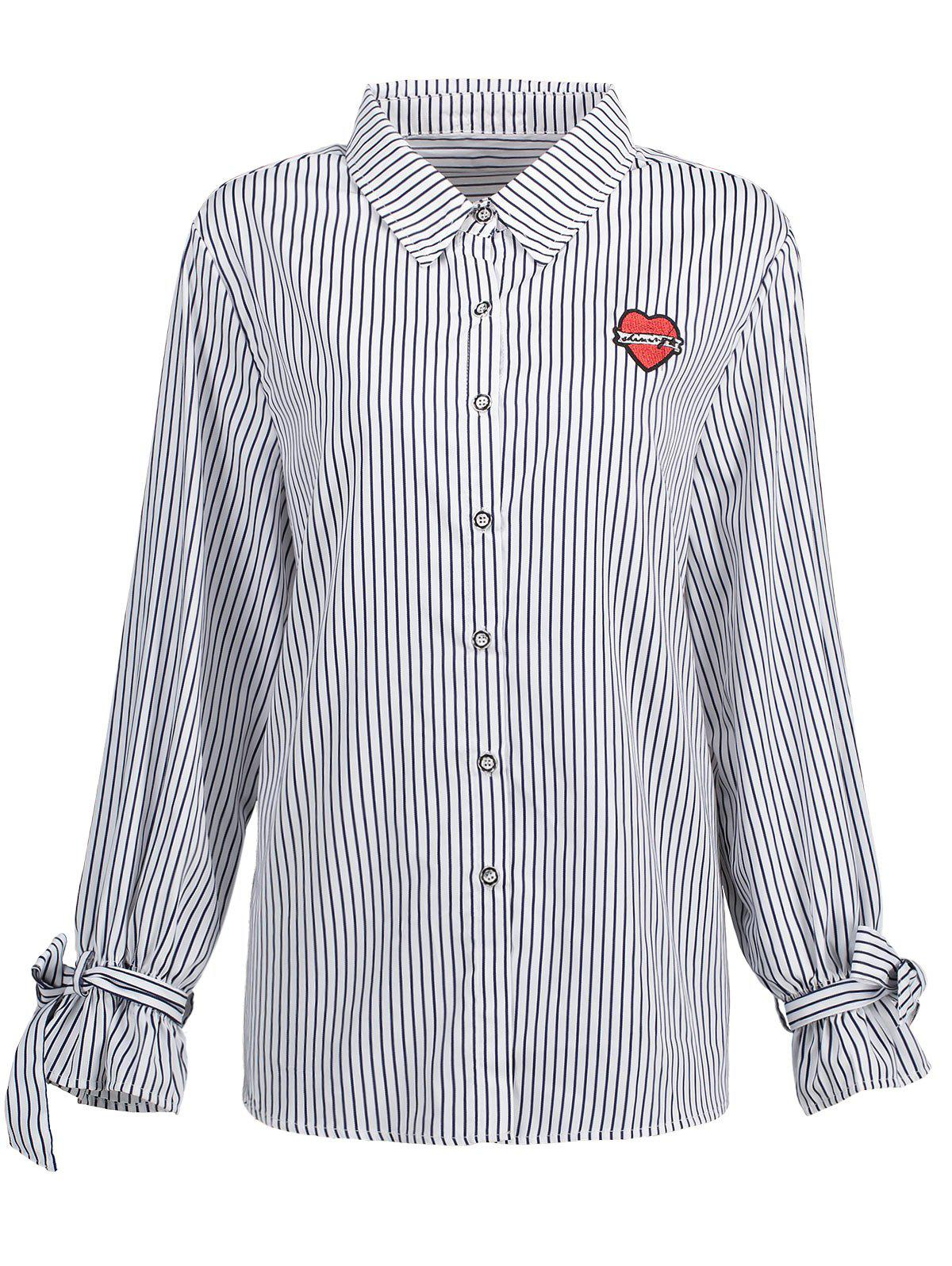 Plus Size Bowknot Vertical Stripe Shirt - WHITE 3XL
