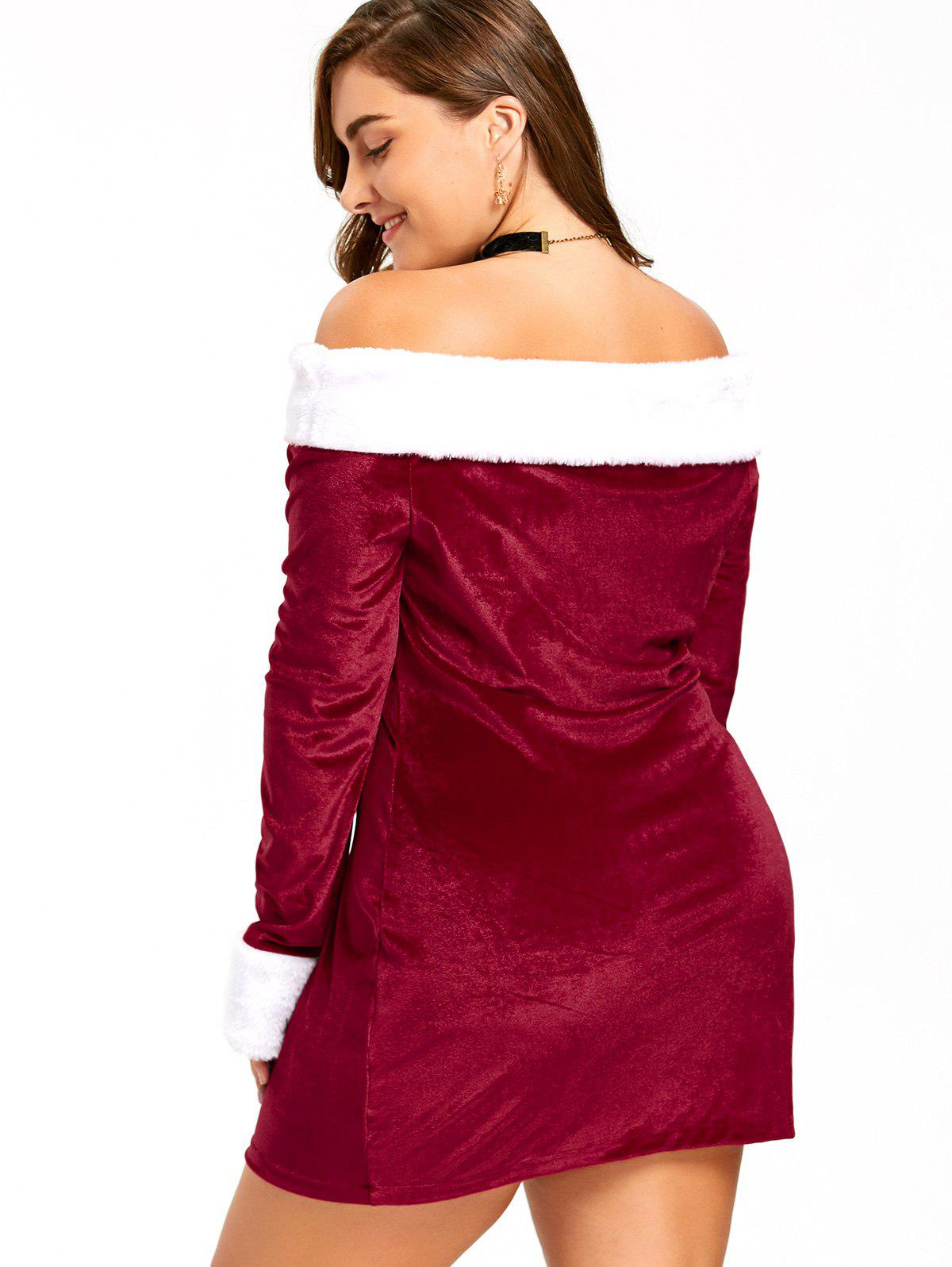 Christmas Plus Size Off The Shoulder Velvet Dress - RED/WHITE 3XL