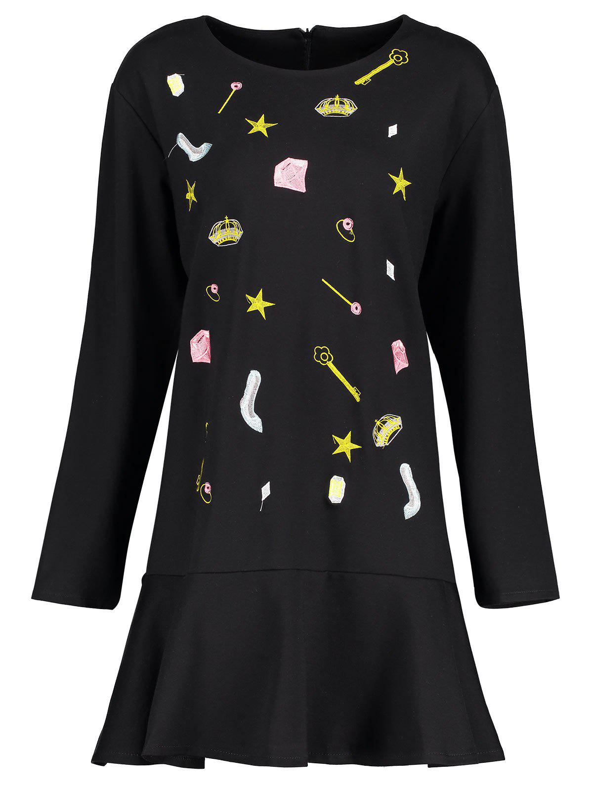 Plus Size Cute Embroidered Drop Waist Dress - BLACK 3XL