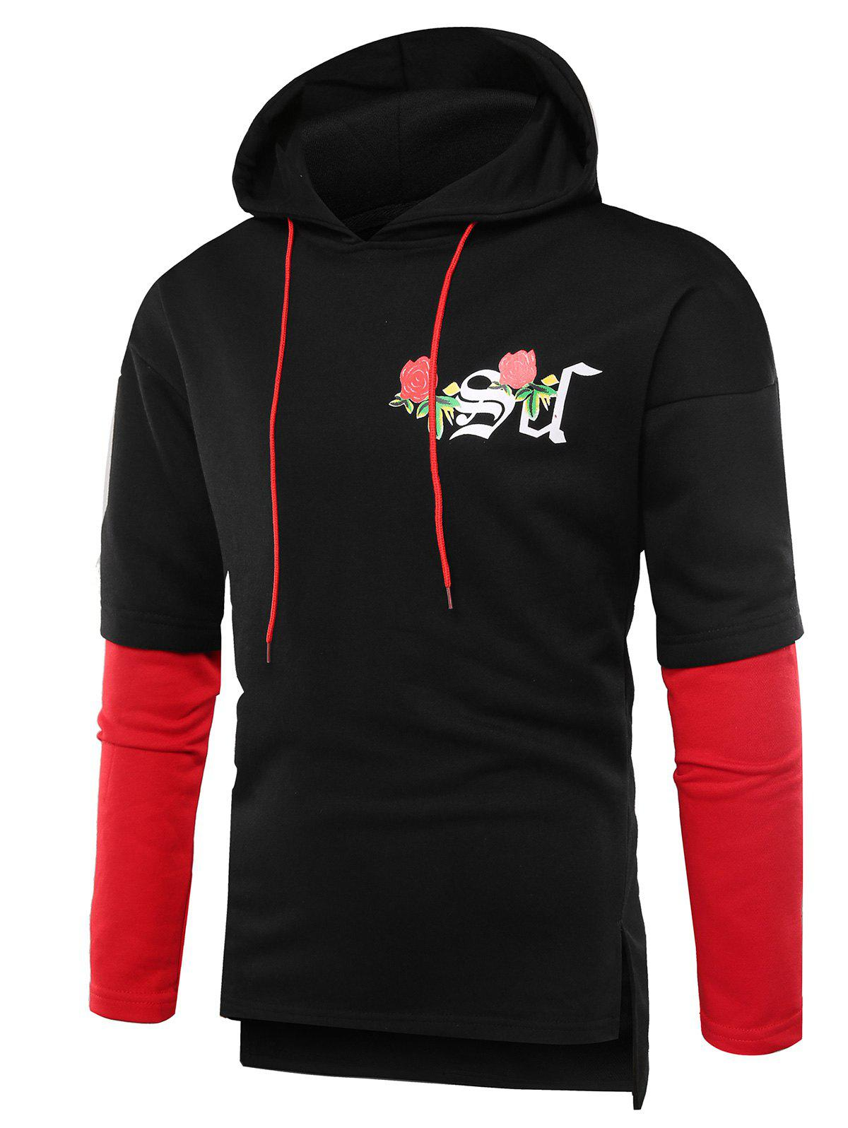 Side Slit Rose Graphic Print Hoodie - BLACK XL