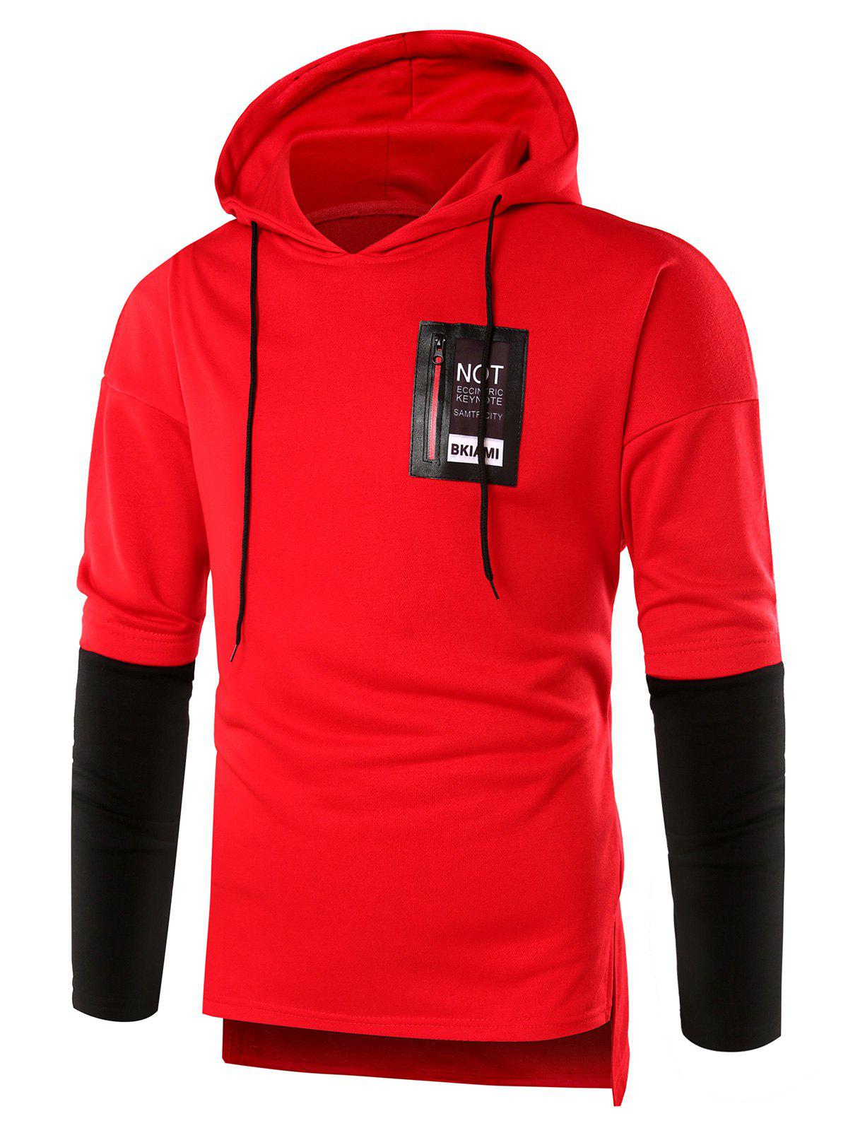 PU Leather Applique Braid Embellished Hoodie - RED 2XL