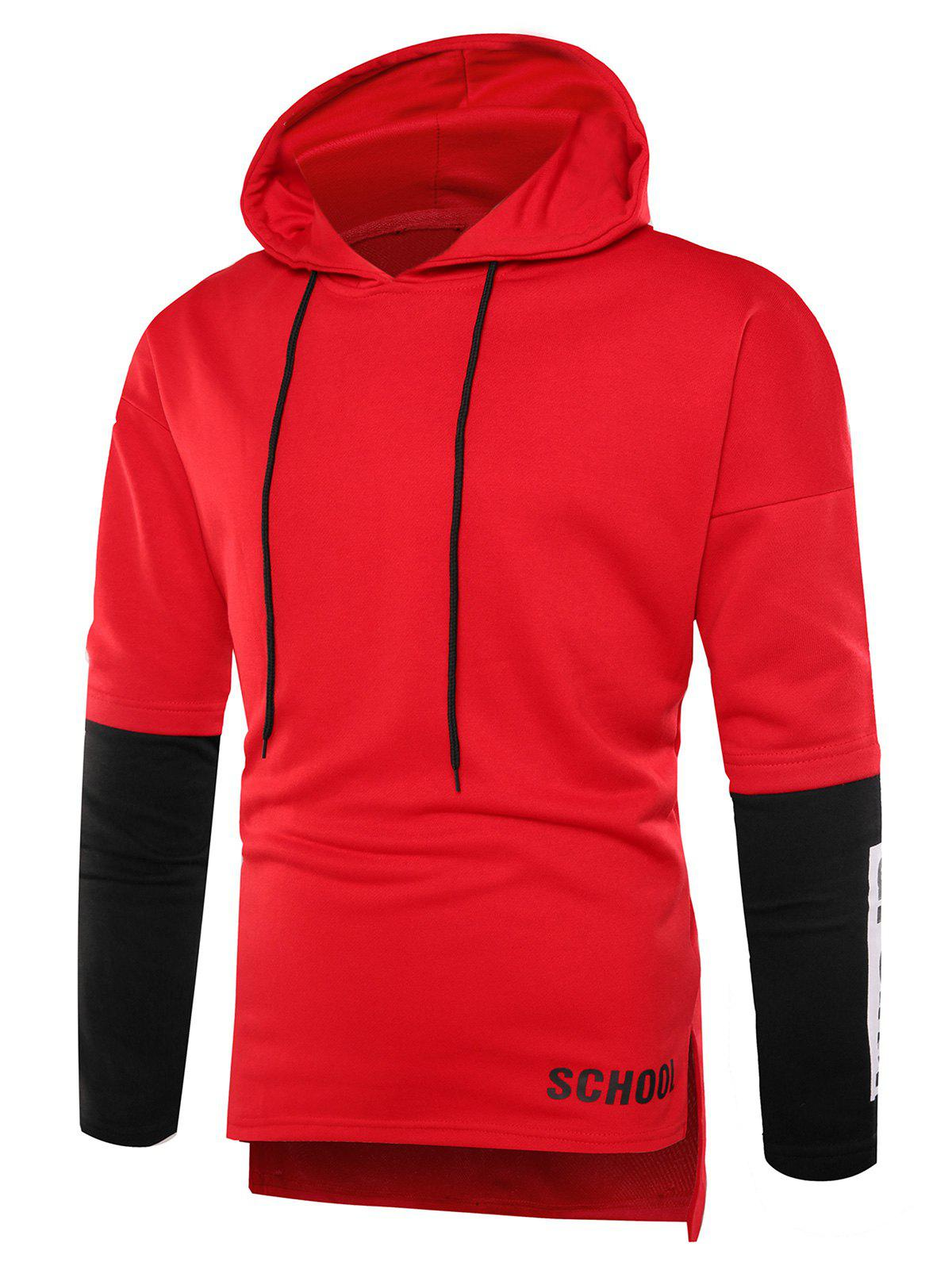 Graphic Print Color Block Side Slit Hoodie - RED 2XL