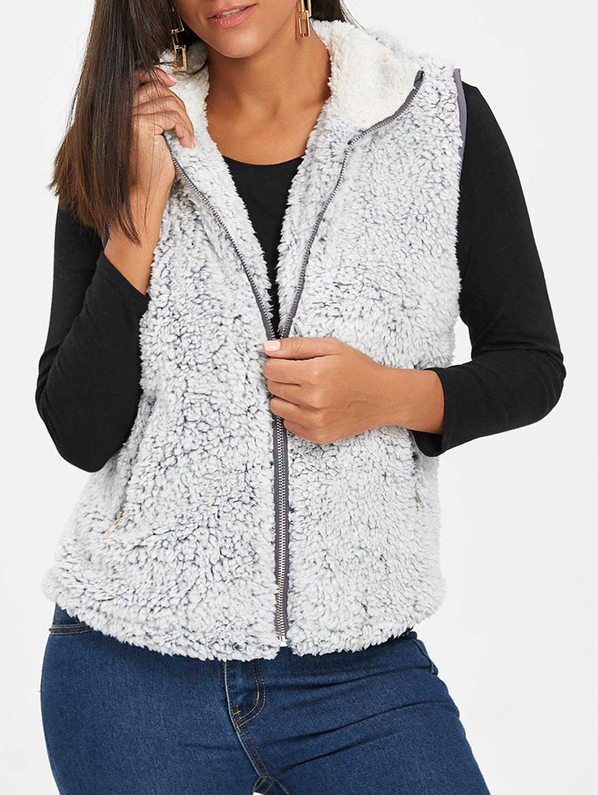 Stand Collar Zip Fly Shearling Waistcoat - LIGHT GRAY 2XL