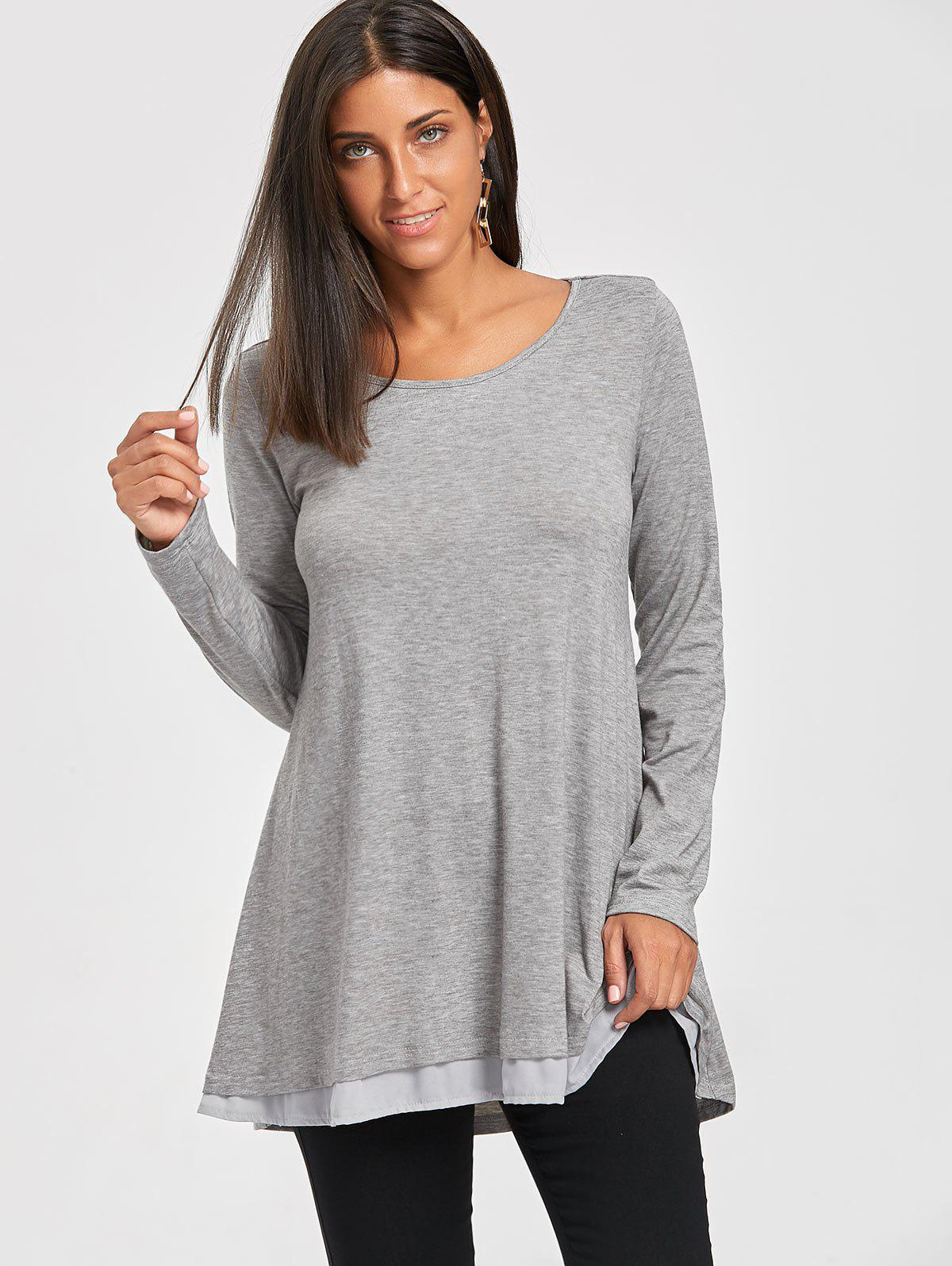 Chiffon Trimmed Scoop Neck Tunic Top - GRAY XL