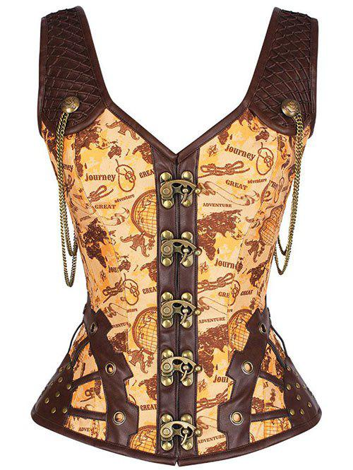 Pirate Punk Studded Lace Up  Overbust Corset Vest - YELLOW 2XL