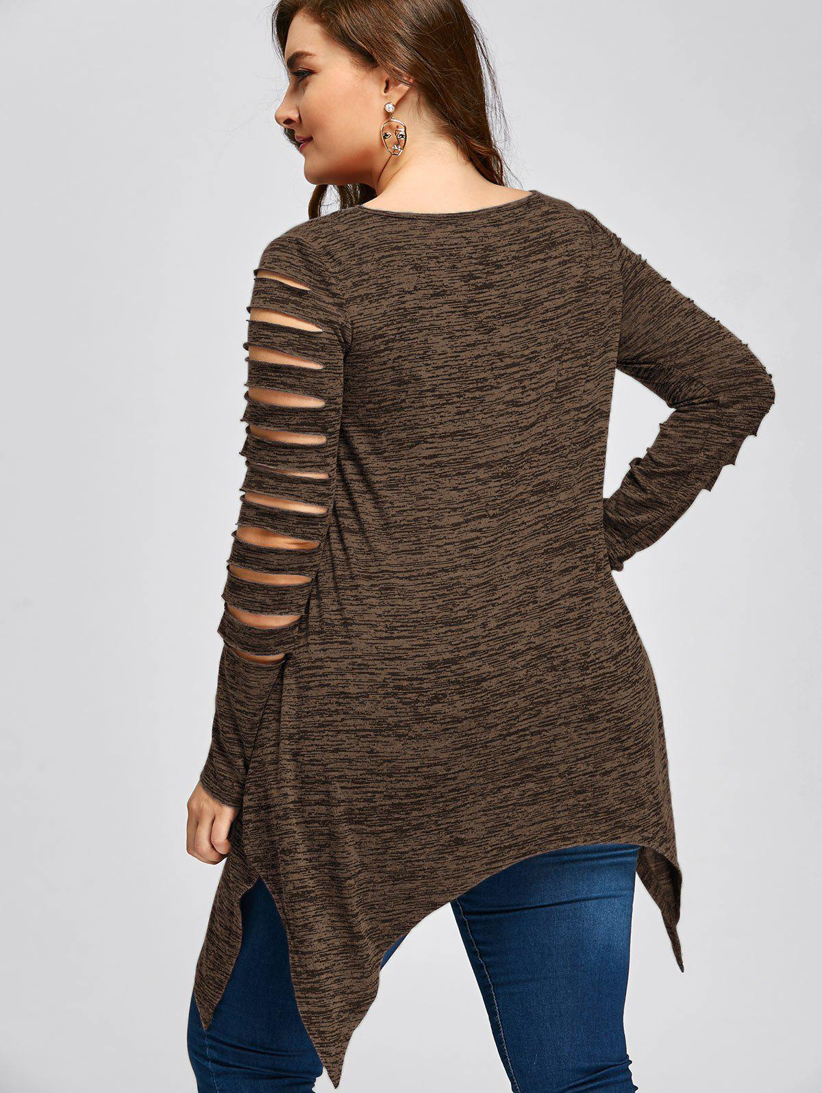 Plus Size Marled Ripped Sleeve Handkerchief Top - COFFEE 2XL