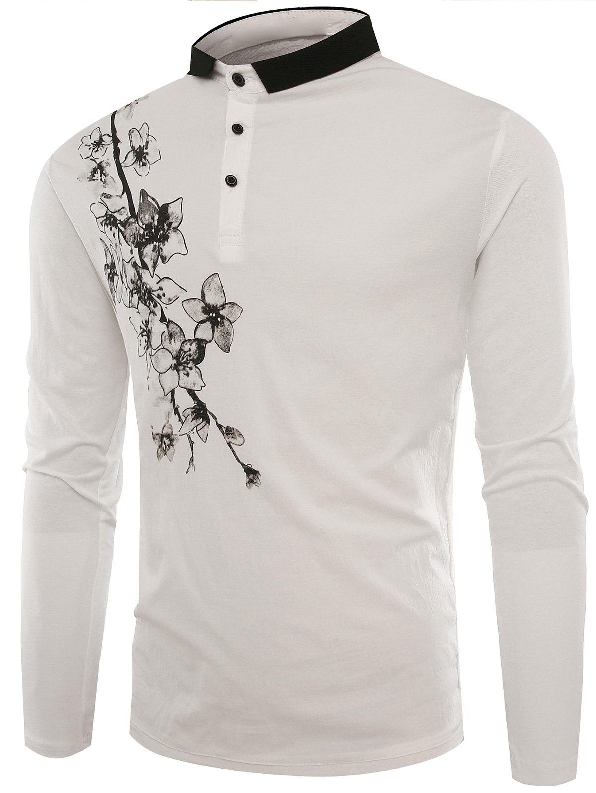 Florals Print Buttons Polo T-shirt - WHITE XL