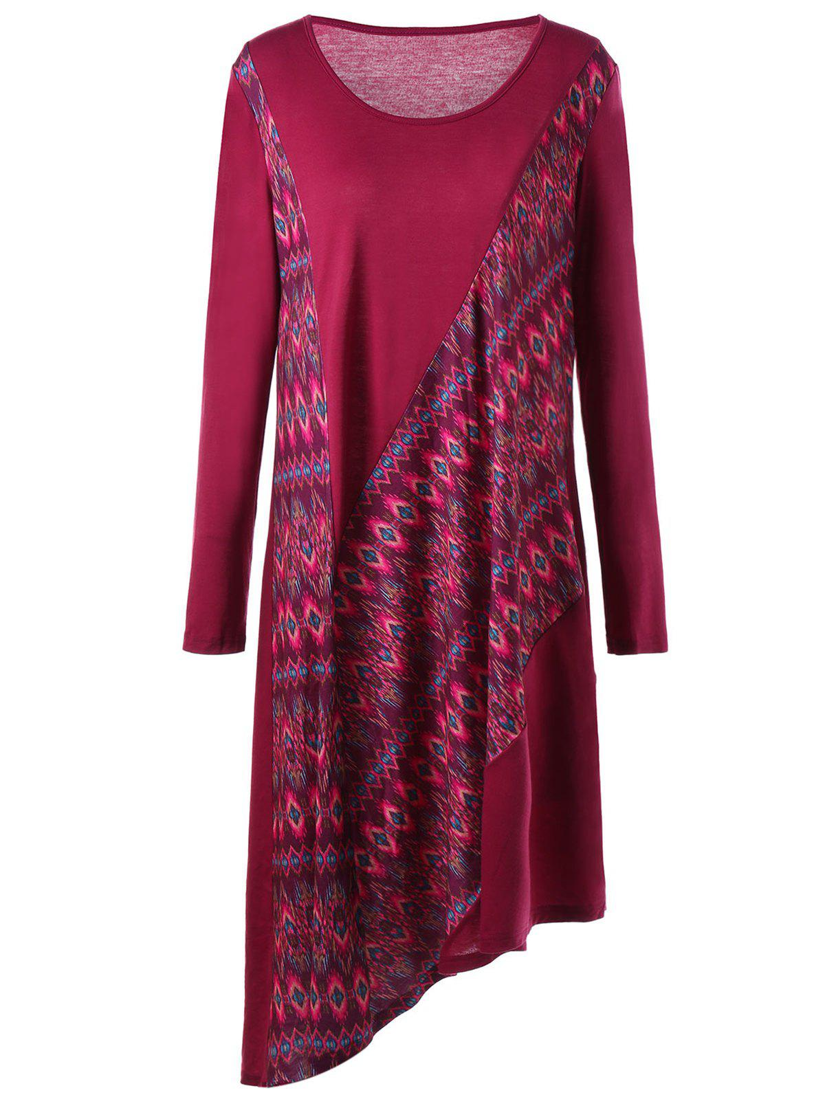 Asymmetric Long Sleeve Plus Size Print Dress - WINE RED 5XL