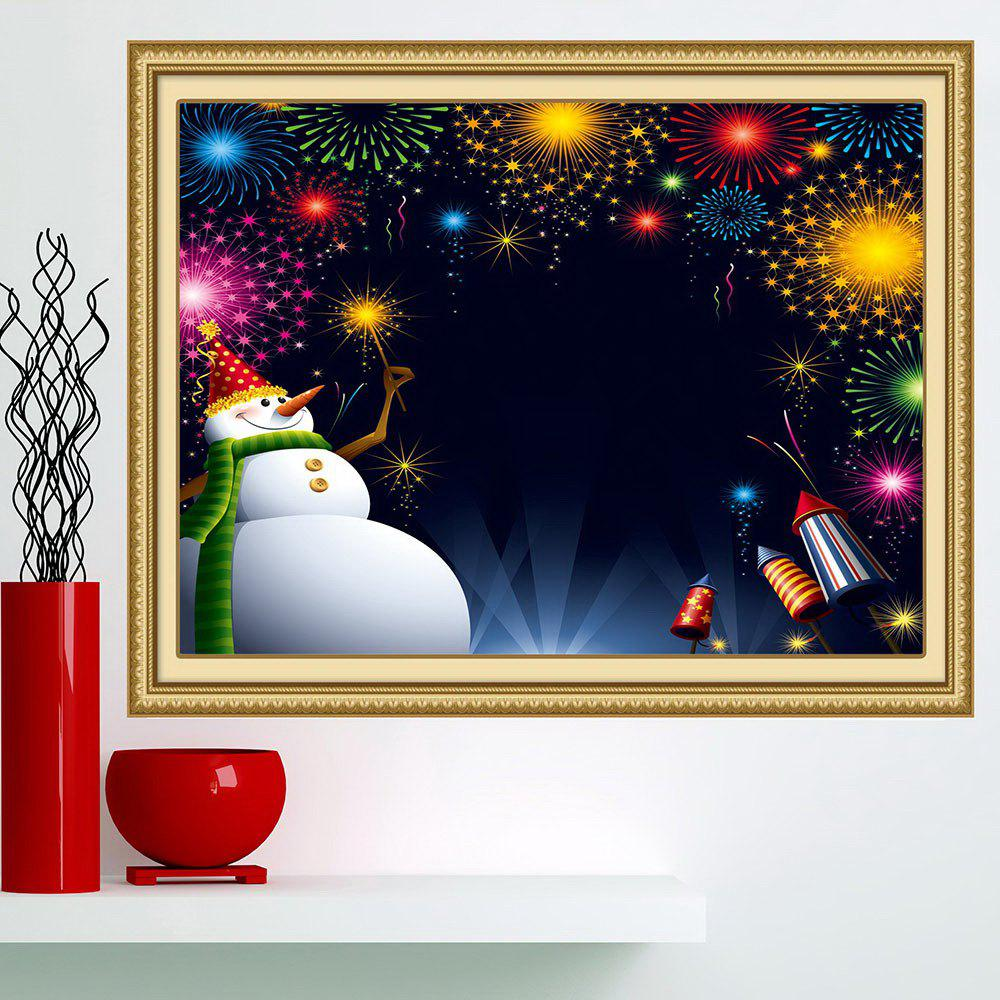 Christmas Snowman Fireworks Printed Wall Art Painting - COLORFUL 1PC:24*35 INCH( NO FRAME )
