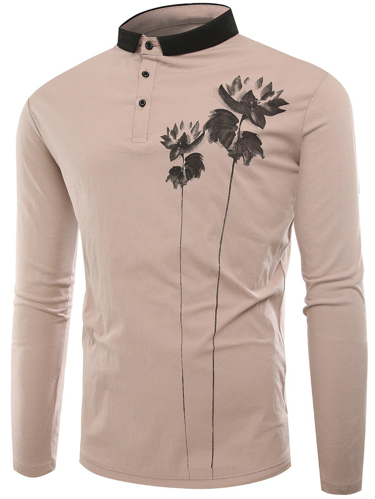 Buttons Lotus Print Polo T-shirt - APRICOT 3XL