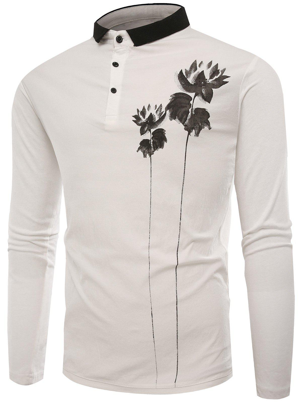 Buttons Lotus Print Polo T-shirt - WHITE XL